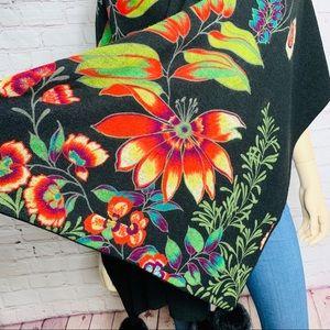 CHRISTIAN DIOR Scarf/Shawl Black Floral w Fur Poms